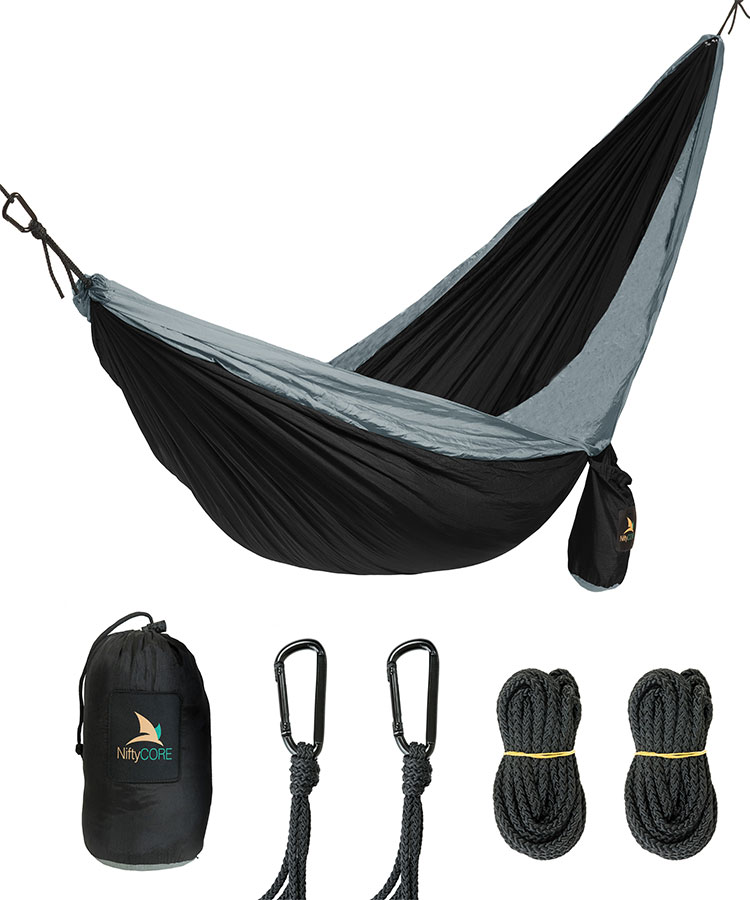 Lightweight Parachute Nylon Hammock - Multifunctional, Ultra Portable For Camping, Backpacking, Hiking, Travel, Beach, Yard. Includes Carabiners and Ropes